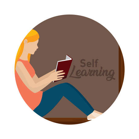 Young woman reading a book. Self learning - Vector