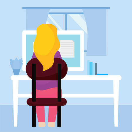 Young woman studying in a workstation. Self Learning - Vector illustration Illusztráció