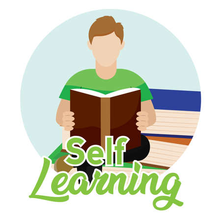 Young man reading a book. Self learning - Vector