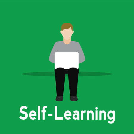 Young man studying in a laptop. Self Learning - Vector illustration