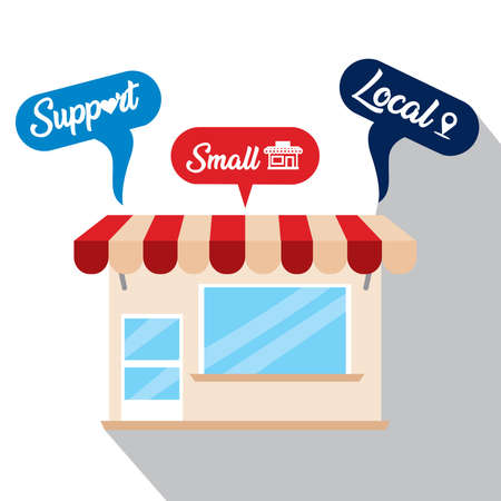 Support small poster. Local commerce shop - Vector