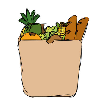Grocery bag icon. Fruits and vegetables - Vector Vetores