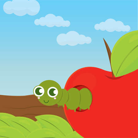 Cute worm in an apple over a branch - Vector illustration Illustration