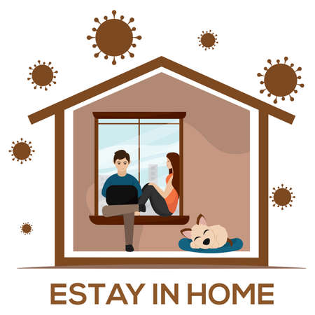 Couple sitting on a sofa. Stay in home - Vector Stock Illustratie