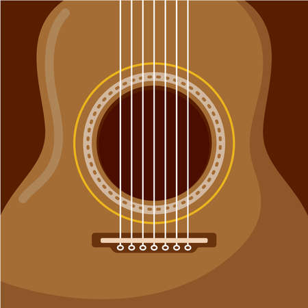 Classic acoustic guitar. String musical instrument - Vector