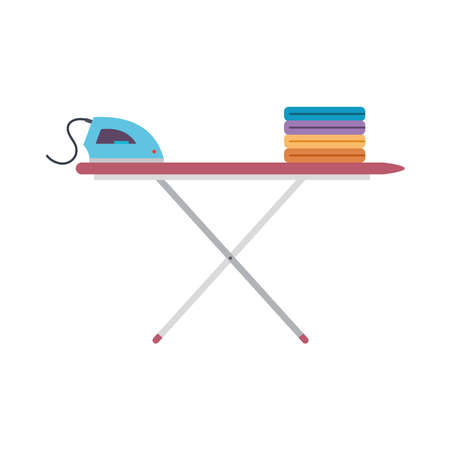 Clothes ironing icons. Iron and ironing board - Vector