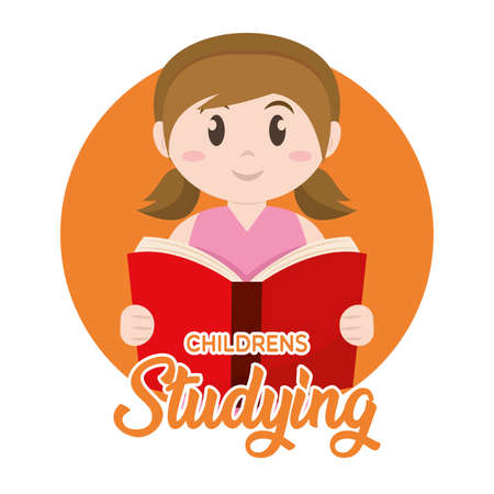 Isolated girl childrens studying school icon - Vector