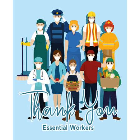 Team essential workers thank you banner blue- Vector Vecteurs