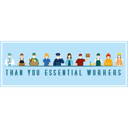 Team essential workers thank you banner blue- Vector