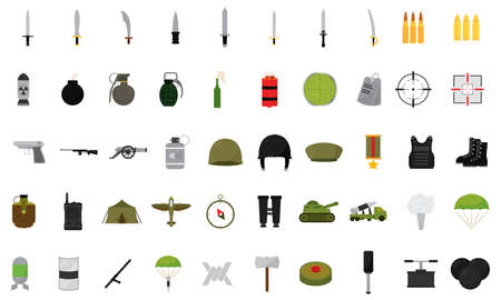 Isolated set of objects of war icons