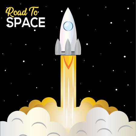 Space rocket take off road to sapace poster - Vector