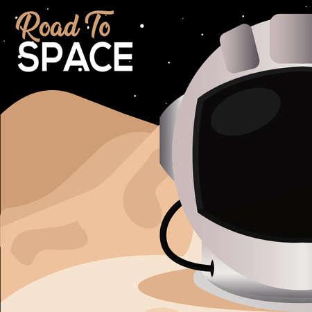Astronaut helmet in Moon road to sapace poster - Vector