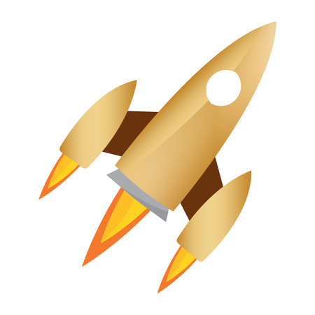 Isolated Space rocket gold road to sapace icon - Vector Ilustracja