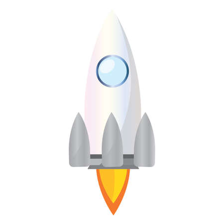 Isolated Space rocket white road to sapace icon - Vector Ilustracja