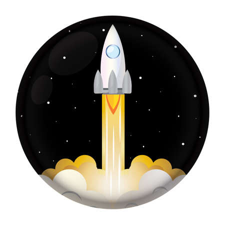 Isolated Space rocket fly silver icon - Vector