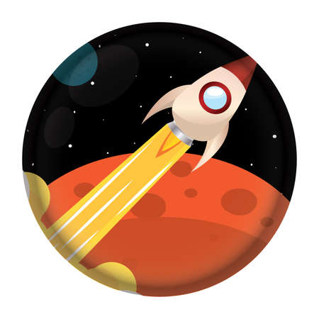 Isolated Space rocket take off red icon - Vector