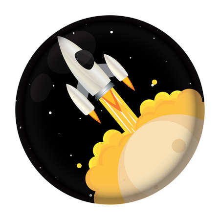 Isolated Space rocket take off silver icon - Vector