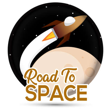 Isolated Space rocket fly in the moon road to space icon - Vector