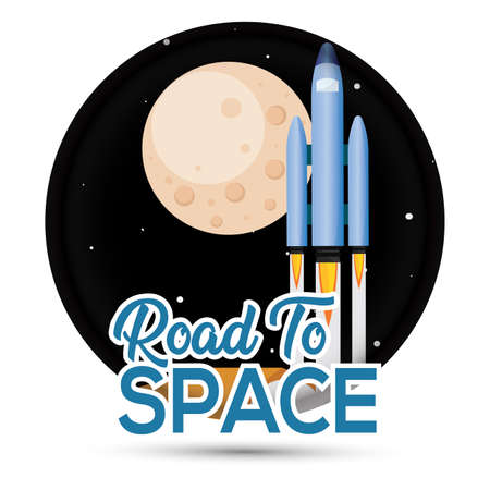 Isolated Space rocket take off road to space icon - Vector  イラスト・ベクター素材