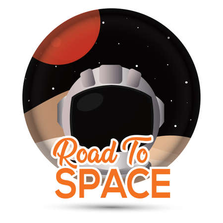 Isolated Astronaut helmet in Moon road to space icon - Vector