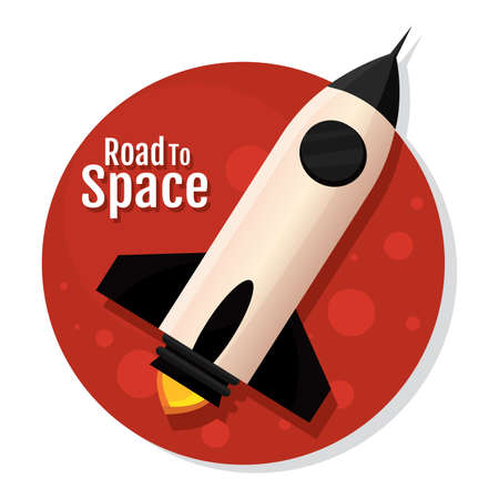 Isolated Space rocket Black red road to space icon - Vector  イラスト・ベクター素材