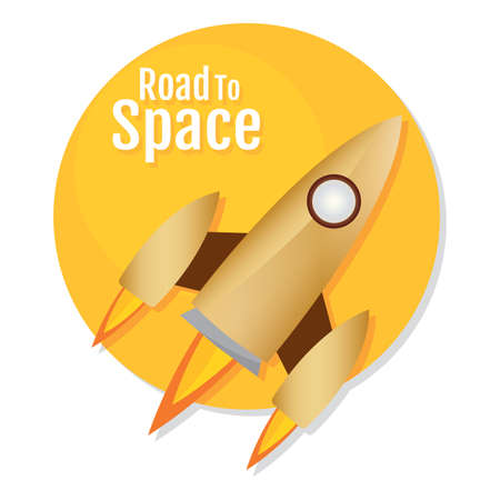 Isolated Space rocket fly icon road to space- Vector