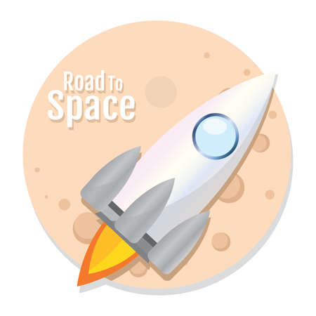 Isolated Space rocket fly silver road to space icon - Vector