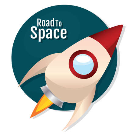 Isolated Space rocket take off red road to space icon - vector