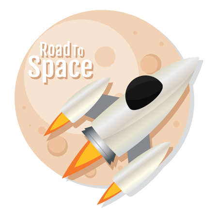 Isolated Space rocket take off silver road to space icon - Vector  イラスト・ベクター素材