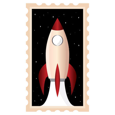 Isolated Space rocket red picture icon - Vector