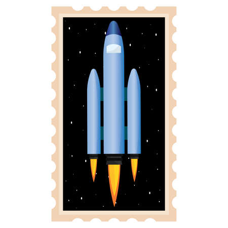 Isolated Space rocket take off picture icon - Vector