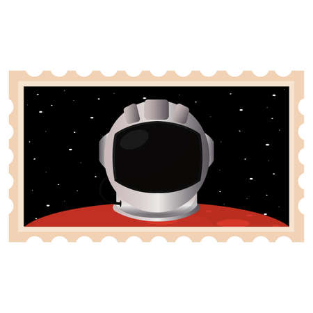 Isolated Astronaut helmet in Mars picture icon - Vector