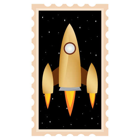 Isolated Space rocket fly picture icon - Vector  イラスト・ベクター素材