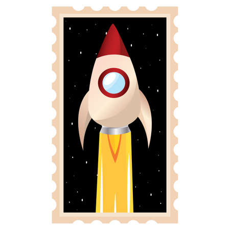 Isolated Space rocket take off red picture icon - Vector