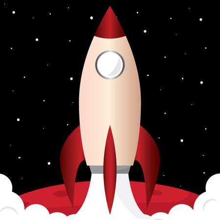 Space rocket red in mars road to space poster - Vector