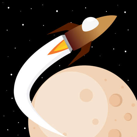 Space rocket fly in the moon road to space poster - Vector