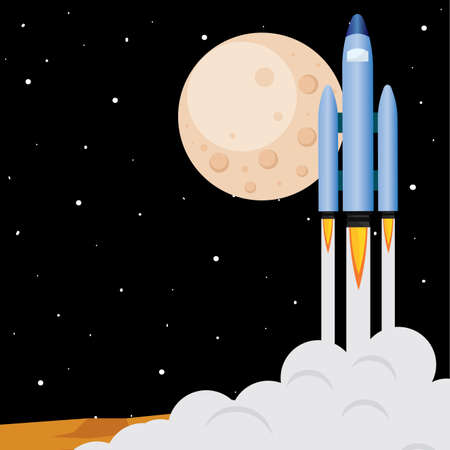 Space rocket take off in Mars road to space poster - Vector