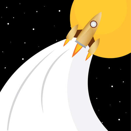 Space rocket fly to sun road to space poster - Vector  イラスト・ベクター素材