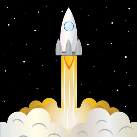 Space rocket take off road to space poster - Vector