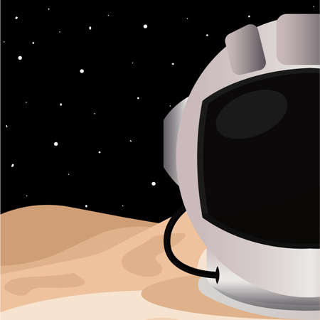 Astronaut helmet in Moon road to space poster - Vector  イラスト・ベクター素材