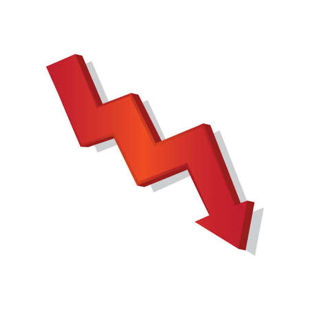 Isolated down symbol red in white background financial icon- Vector