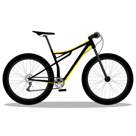 Isolated yellow race mountain bike in white background icon- Vector