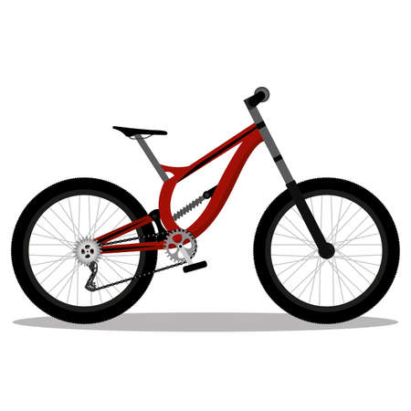 Isolated red city bike in white background icon- Vector