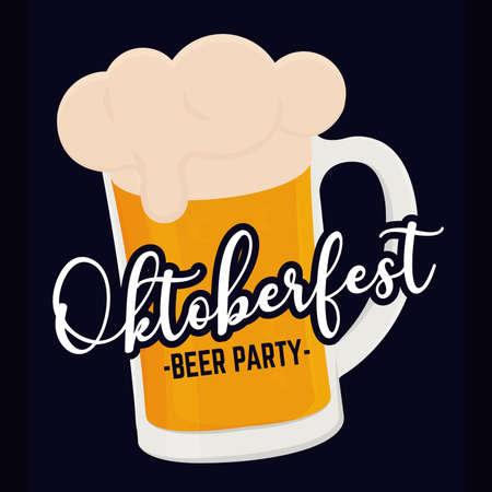 Beer party oktoberfest backgorund blue full color poster icon- Vector Vektoros illusztráció