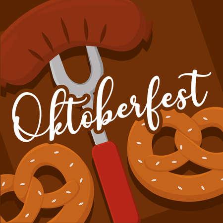 german sausage and pretzels oktoberfest brown background full color poster icon- Vector Ilustração
