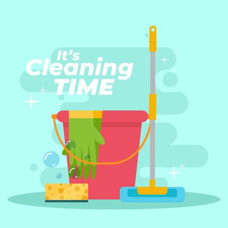 Bucket celaning time blue blackboard icon- Vector