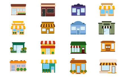 Set of shop buildings icons Store structure Vector Vetores
