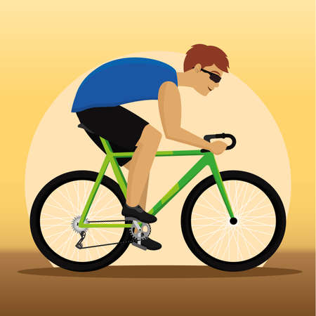 Isolated man riding bicycle Cycling Vector illustration