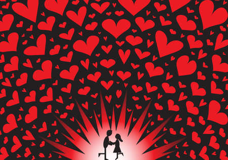 i mate: a couple embracing on an exploding red hearts background Illustration