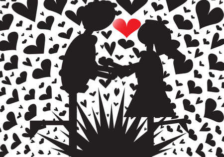 A big couple kissing on an exploding hearts background Vector